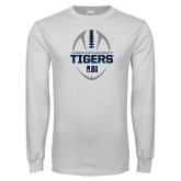 White Long Sleeve T Shirt-Jackson State University Tigers Football Vertical