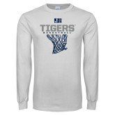 White Long Sleeve T Shirt-Tigers Basketball w/ Hanging Net