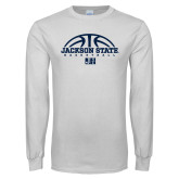 White Long Sleeve T Shirt-Jackson State Basketball Half Ball