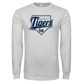 White Long Sleeve T Shirt-Tigers Baseball w/ Script and Plate