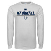 White Long Sleeve T Shirt-Jackson State Baseball Stencil w/ Ball