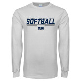 White Long Sleeve T Shirt-Jackson State Softball Stencil w/ Underline