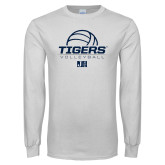 White Long Sleeve T Shirt-Tigers Volleyball Stacked w/ Ball