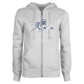 ENZA Ladies White Fleece Full Zip Hoodie-Tiger