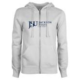 ENZA Ladies White Fleece Full Zip Hoodie-JSU Jackson State University