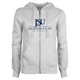 ENZA Ladies White Fleece Full Zip Hoodie-JSU Jackson State University Stacked