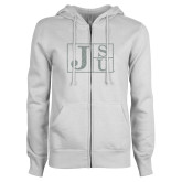 ENZA Ladies White Fleece Full Zip Hoodie-Official Logo Silver Soft Glitter