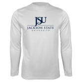 Performance White Longsleeve Shirt-JSU Jackson State University Stacked