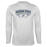 Performance White Longsleeve Shirt-Jackson State Tigers Arched w/ Outline