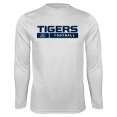 Performance White Longsleeve Shirt-Tigers Football w/ Bar
