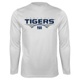 Performance White Longsleeve Shirt-Tigers Football Stacked w/ Ball