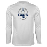 Performance White Longsleeve Shirt-Jackson State University Tigers Football Vertical