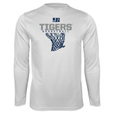 Performance White Longsleeve Shirt-Tigers Basketball w/ Hanging Net