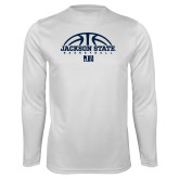 Performance White Longsleeve Shirt-Jackson State Basketball Half Ball