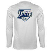Performance White Longsleeve Shirt-Tigers Baseball w/ Script and Plate