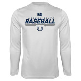 Performance White Longsleeve Shirt-Jackson State Baseball Stencil w/ Ball