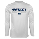 Performance White Longsleeve Shirt-Jackson State Softball Stencil w/ Underline