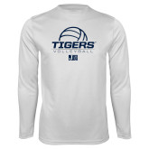 Performance White Longsleeve Shirt-Tigers Volleyball Stacked w/ Ball