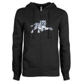 ENZA Ladies Black Fleece Full Zip Hoodie-Tiger