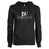 ENZA Ladies Black Fleece Full Zip Hoodie-JSU Jackson State University Stacked