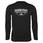 Performance Black Longsleeve Shirt-Jackson State Tigers Arched w/ Outline