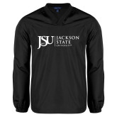 V Neck Black Raglan Windshirt-JSU Jackson State University