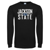 Black Long Sleeve TShirt-Jackson State Stacked w/ Logo
