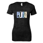 Next Level Ladies Junior Fit Black Burnout Tee-Official Logo Foil