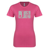 Next Level Ladies SoftStyle Junior Fitted Pink Tee-Official Logo Silver Soft Glitter