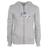 ENZA Ladies Grey Fleece Full Zip Hoodie-Tiger