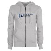 ENZA Ladies Grey Fleece Full Zip Hoodie-JSU Jackson State University