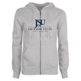 ENZA Ladies Grey Fleece Full Zip Hoodie-JSU Jackson State University Stacked