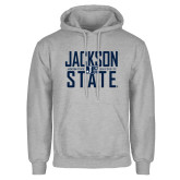 Grey Fleece Hoodie-Jackson State Stacked w/ Logo