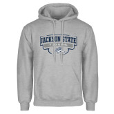 Grey Fleece Hoodie-Jackson State Tigers Arched w/ Outline