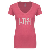 Next Level Ladies Vintage Pink Tri Blend V-Neck Tee-Official Logo Silver Soft Glitter