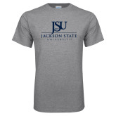 Grey T Shirt-JSU Jackson State University Stacked