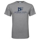 Grey T Shirt-JSU Jackson State University Stacked