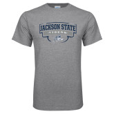 Grey T Shirt-Jackson State Tigers Arched w/ Outline