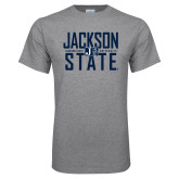Grey T Shirt-Jackson State Stacked w/ Logo