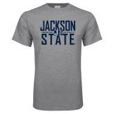 Grey T Shirt-Jackson State Stacked w/ Logo