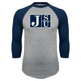 Grey/Navy Raglan Baseball T Shirt-Official Logo