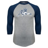 Grey/Navy Raglan Baseball T Shirt-Tiger
