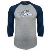 Grey/Navy Raglan Baseball T Shirt-Tiger