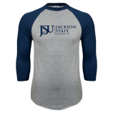 Grey/Navy Raglan Baseball T Shirt-JSU Jackson State University