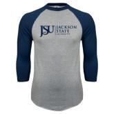 Grey/Navy Raglan Baseball T Shirt-JSU Jackson State University