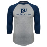 Grey/Navy Raglan Baseball T Shirt-JSU Jackson State University Stacked
