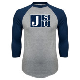 Grey/Navy Raglan Baseball T Shirt-Official Logo Distressed
