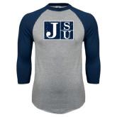 Grey/Navy Raglan Baseball T Shirt-Official Logo Distressed