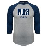 Grey/Navy Raglan Baseball T Shirt-Dad