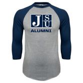 Grey/Navy Raglan Baseball T Shirt-Alumni